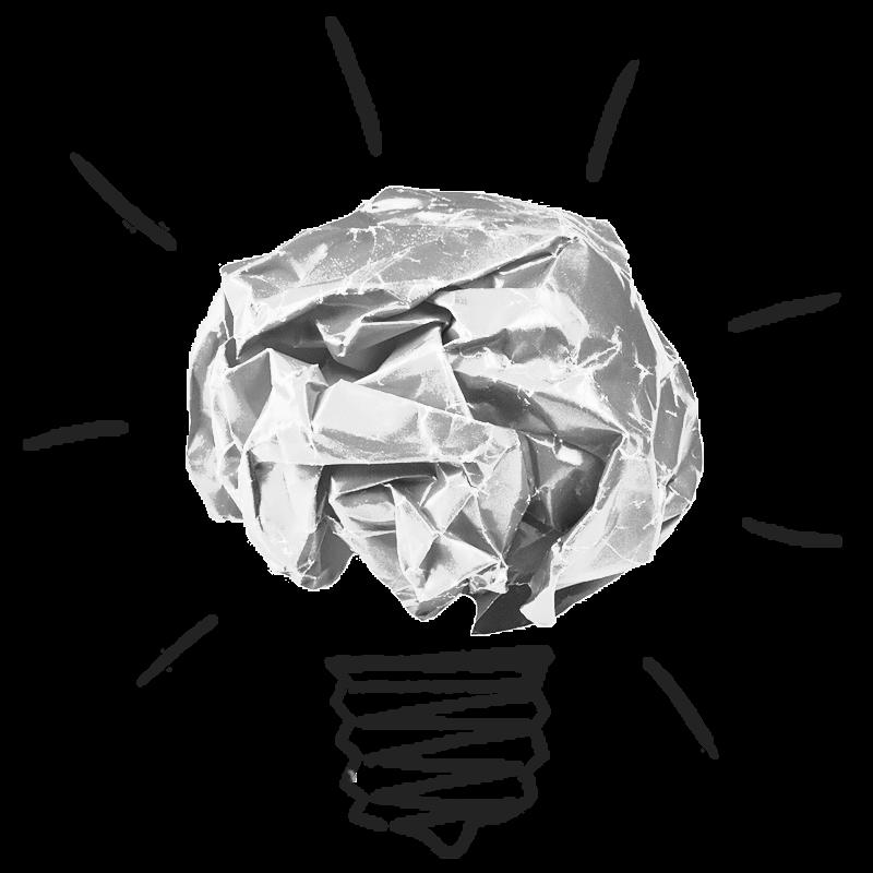 Scrunched up paper lightbulb